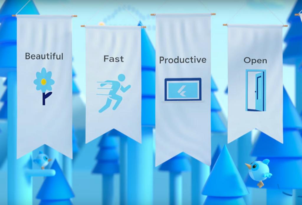 A Flutter erősségei: szép, gyors, productív, nyílt.